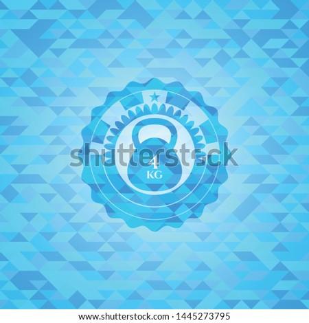 4kg kettlebell icon inside light blue emblem with mosaic ecological style background