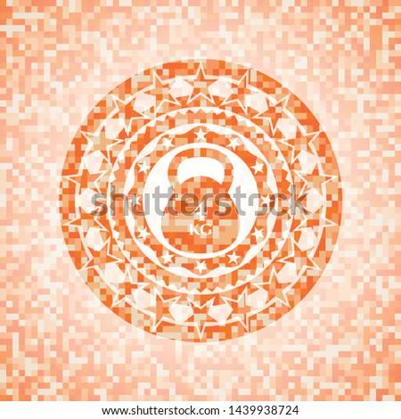 4kg kettlebell icon inside orange mosaic emblem with background