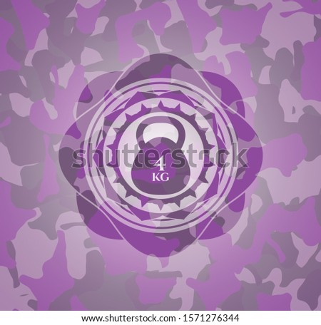 4kg kettlebell icon inside pink and purple camo emblem