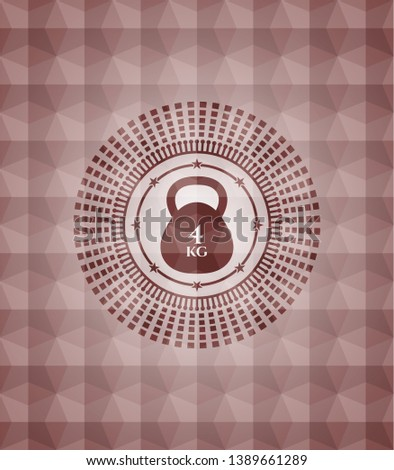 4kg kettlebell icon inside red emblem or badge with geometric pattern background. Seamless.