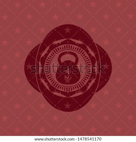 4kg kettlebell icon inside red emblem. Vintage.