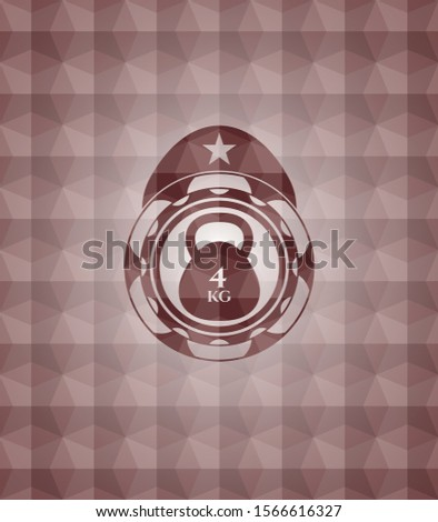 4kg kettlebell icon inside red seamless emblem or badge with abstract geometric pattern background.