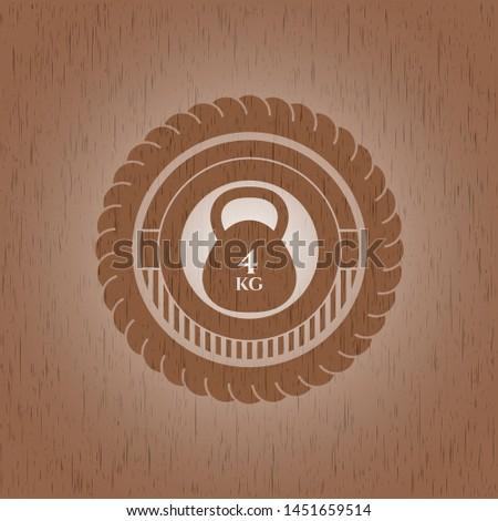 4kg kettlebell icon inside retro style wood emblem