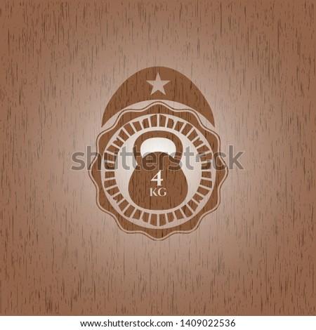4kg kettlebell icon inside retro style wooden emblem