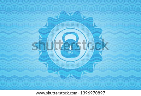 4kg kettlebell icon inside sky blue water badge.