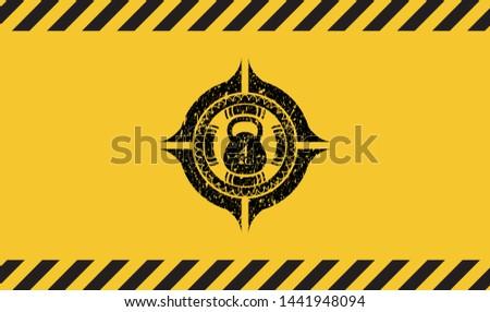 4kg kettlebell icon inside warning sign, black grunge emblem. Vector Illustration. Detailed.