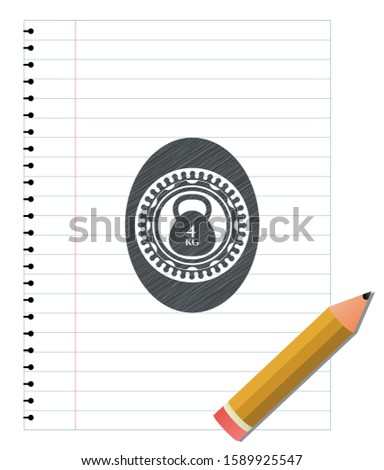 4kg kettlebell icon penciled. Vector Illustration. Detailed.