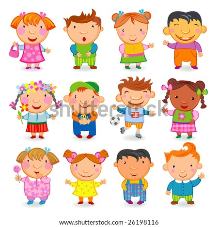 12  KIDS different nations. Vector image.