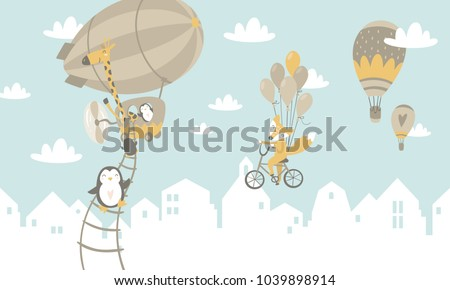 Kids graphic illustration. Using for print on the wall, pillows, decoration kids interior, baby wear and shirts, greeting card, vector and other