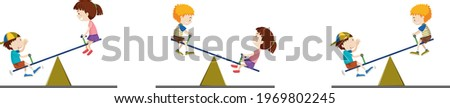 kids on seesaw trying to keep balance trying to demonstrate the leverage system Stok fotoğraf ©