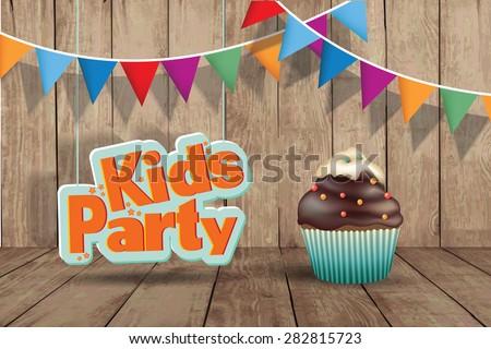 Kids Party design template.  Happy birthday