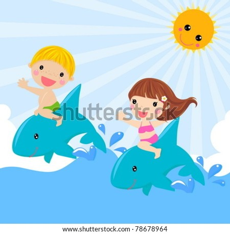 kids  sitting on dolphin - vector illustration. - stock vector