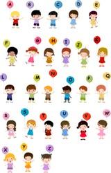 Kids with alphabet.