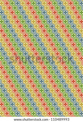 """kikkou-hanabishi"" a traditional Japanese pattern - stock vector"