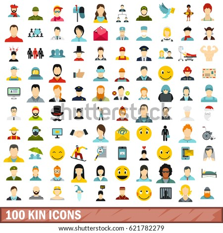 100 kin icons set in flat style for any design vector illustration