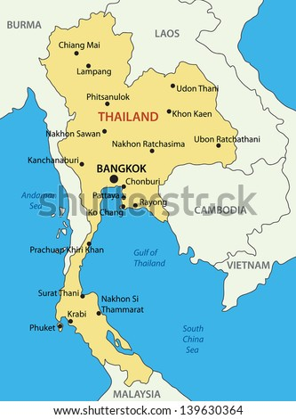 Kingdom of Thailand - vector map
