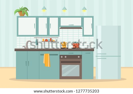 kitchen interior with furniture and stove, cupboard, dishes, fridge and utensils. Table with chairs. Flat cartoon style vector illustration
