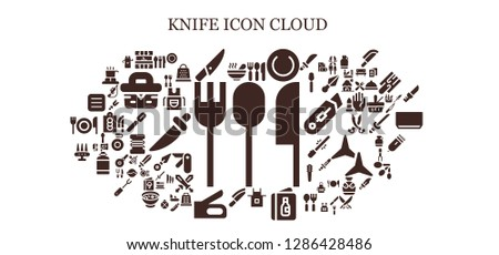 knife icon set. 93 filled knife icons. Simple modern icons about  - Cutlery, Soup, Kitchen, Knife, Plate, Apron, Menu, Stapler, Weapon, Grater, Picnic, Cutting board, Spoon, Spreading