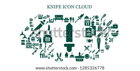 knife icon set. 93 filled knife icons. Simple modern icons about  - Sword, Picnic, Utensils, Weapon, Meal, Canteen, Sabers, Fishing line, Cutting board, Stapler, Fork, Cutter