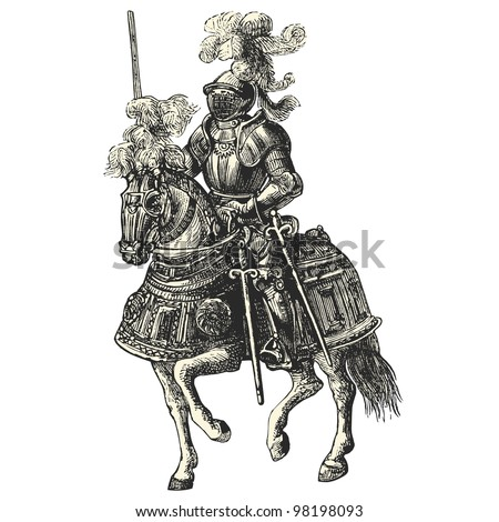 "Knight on his horse - vintage engraved illustration - ""Dictionnaire encyclop�©dique universel illustr�©"" By Jules Trousset - 1891 Paris"