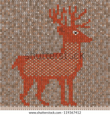 Knitted sweater with wild deer