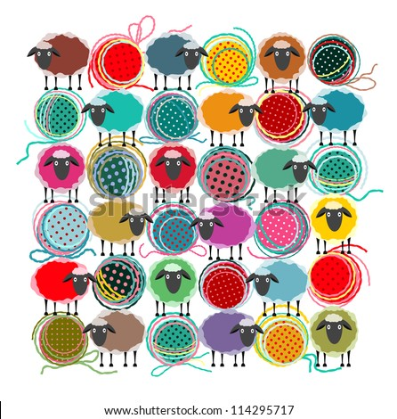 Knitting Yarn Balls and Sheep Abstract Square Composition. Vector EPS 8 graphic illustration of brightly colored yarn balls with sheep. All are layered and grouped to be simply used separately.