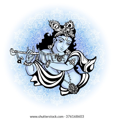 krishna playing the flute