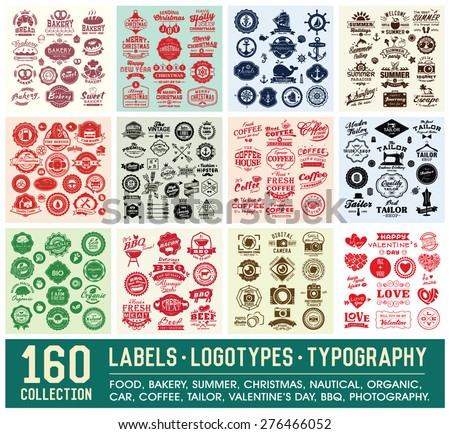 160 Labels and Logotypes design set. Retro Typography design. Badges, Logos, Borders, Arrows, Ribbons, Icons and Objects.
