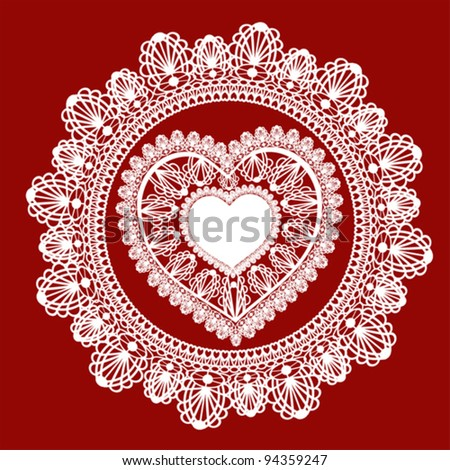 lace heart  on red background. vector
