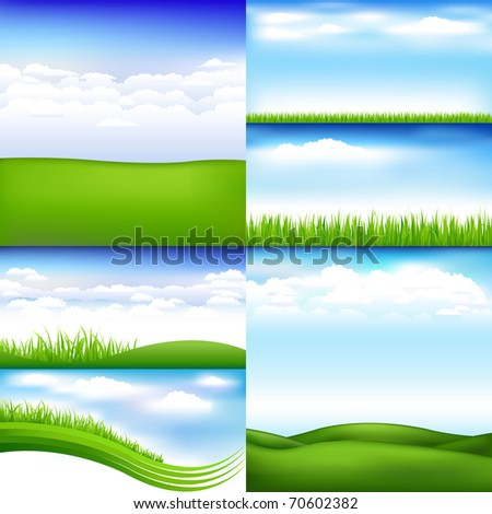 6 Landscapes With Clouds And Grass, Vector Illustration - stock vector