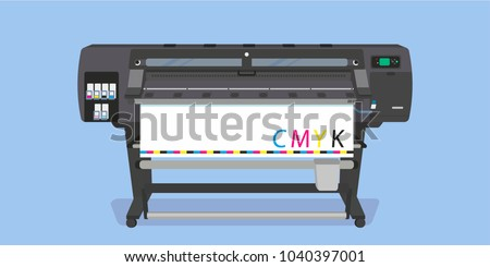 Large-format full-color latex printer plotter flat vector illustration