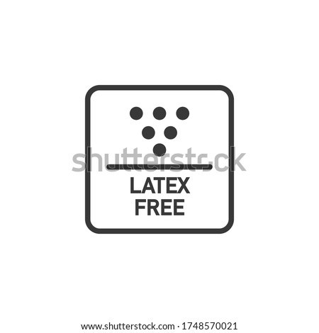 'Latex free' items and medical disposables, allergy prevention information sign. Vector icon ストックフォト ©