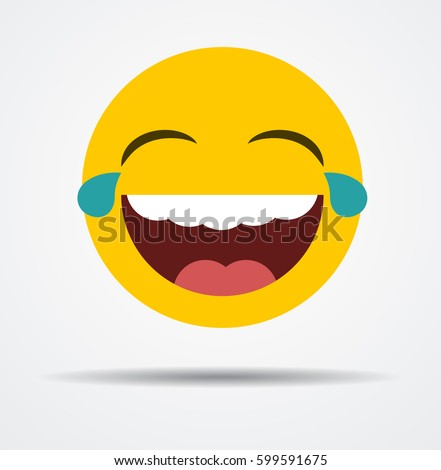 laughing emoticon in a flat
