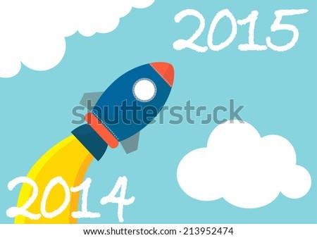 launching rocket flat design