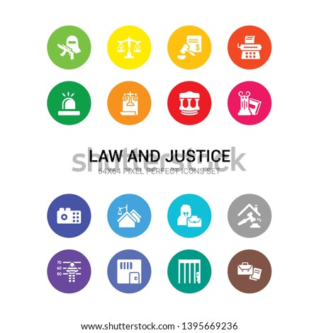 16 law and justice vector icons