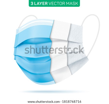 3 layer disposable face mask cut, with inner material sections. Blue medical mask with three layers, isolated on a white background. Corona virus disease protective surgical mask. Vector illustration.