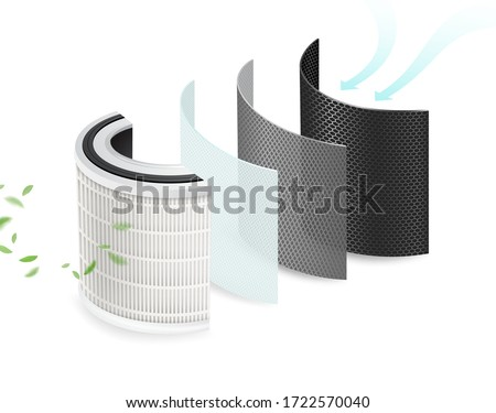 4 layers of clean air filters and sanitizing materials. Filter pollution, viruses, bacteria, PM2.5, dust,Car air conditioner. Air purification system to be safe from the corona virus. Realistic file. Foto stock ©