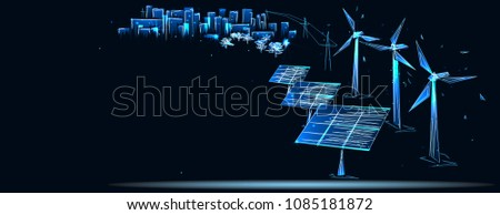 ?lean electric energy from renewable sources sun and wind. Power plant station buildings with solar panels and wind turbines on city skyline urban landscape background. Low poly vector illustration
