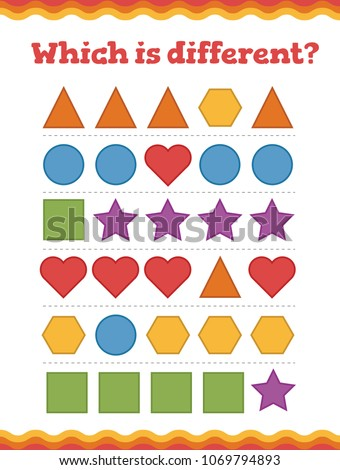 .Learn shapes and geometric figures. Preschool or kindergarten worksheet. Vector illustration