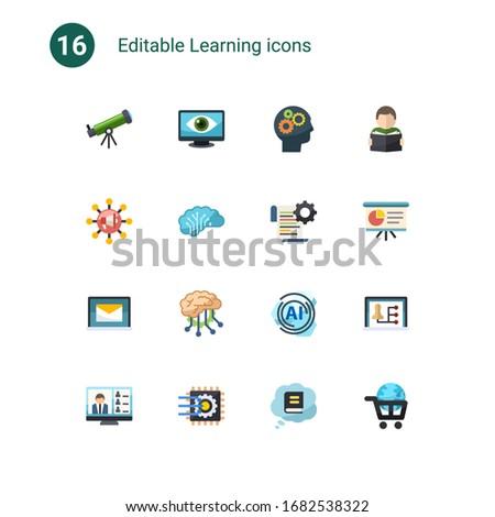 16 learning flat icons set