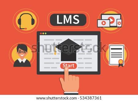 Learning Management System concept. Vector flat illustration.