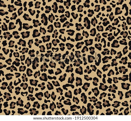 Leopard vector pattern seamless yellow background, trendy modern design for printing clothes, fabric, paper.