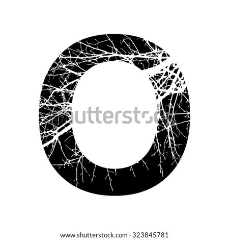 Letter O Double Exposure With White Tree Isolated On Black BackgroundVector IllustrationBlack