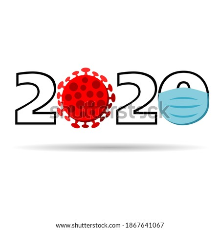 2020 lettering with covid-19  covid - 19 coronavirus virus cell and blue facemask isolated in white background