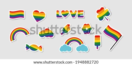 LGBTQ gay pride icons, LGBTQ related symbols set in rainbow colors: Pride Flag, Heart, Rainbow, Sweet, Love, Couples, Flag, Gay Pride Month. Isolated background