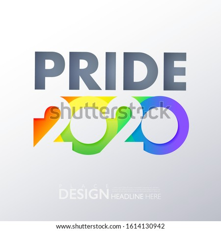 LGBTQ pride 2020 banner. Multi color rainbow conceptual design logo on white gradient background. Vector illustration for festival parades and party events.