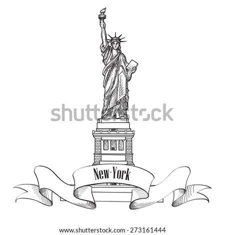 how to draw the statue of liberty realistic