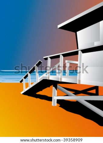 Lifeguard stand on the beach, vector illustration