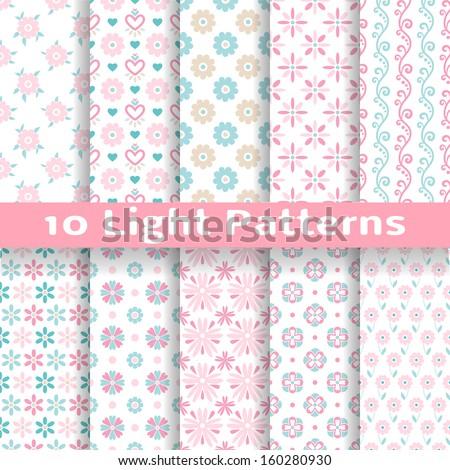 10 light floral romantic vector
