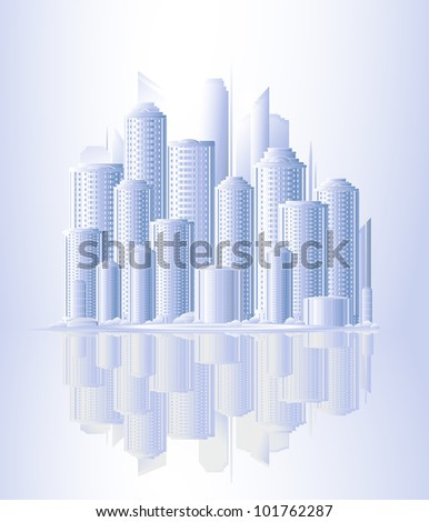 light urban background with skyscrapers and sunrise